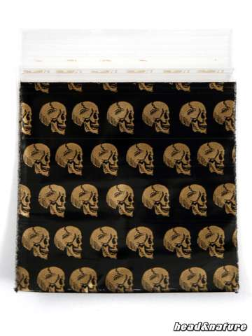 "Zip Bags ""Golden Skull"" 50 x 60mm 100 pcs"