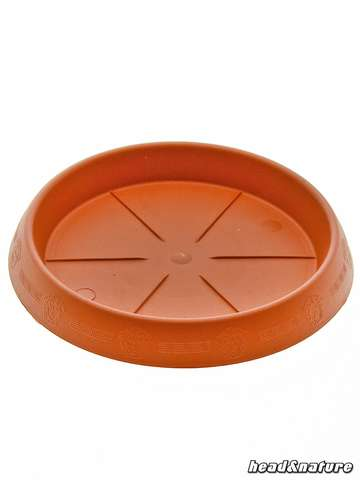 Circular Plant Saucer, terracotta with decorated rim, 17 cm Ø