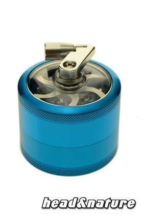 Grinder with window and crank 6cm - turquoise