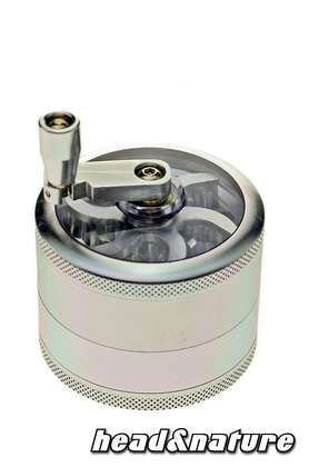 Grinder with window and crank 6cm - silver